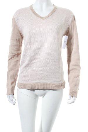 Esprit V-Ausschnitt-Pullover beige-weiß Fischgrätmuster klassischer Stil