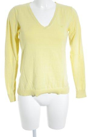 Esprit Jersey con cuello de pico amarillo pálido look casual