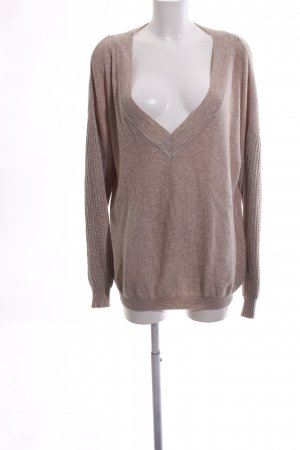 Esprit V-Neck Sweater brown cable stitch casual look