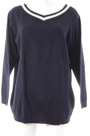 Esprit V-Ausschnitt-Pullover dunkelblau-wollweiß Streifenmuster Casual-Look