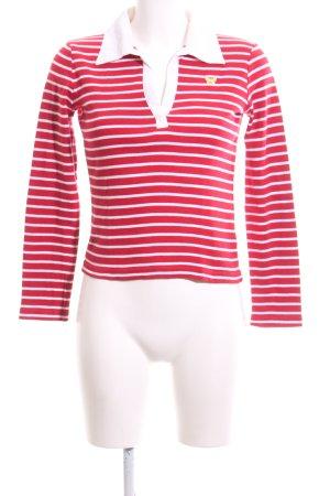 Esprit V-Ausschnitt-Pullover rot-weiß Streifenmuster Casual-Look