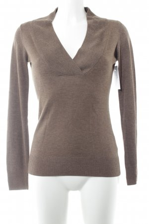 Esprit V-Ausschnitt-Pullover graubraun Casual-Look