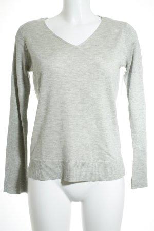 Esprit V-Ausschnitt-Pullover hellgrau schlichter Stil