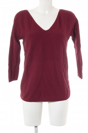 Esprit V-Ausschnitt-Pullover karminrot-schwarz Casual-Look
