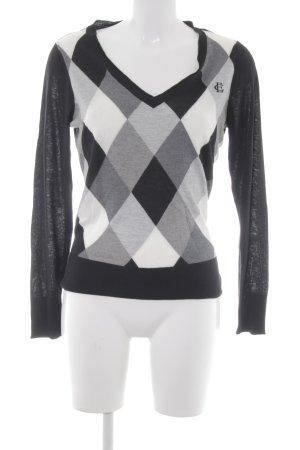 Esprit V-Ausschnitt-Pullover Karomuster Casual-Look