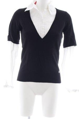 Esprit V-Ausschnitt-Pullover schwarz-weiß Brit-Look