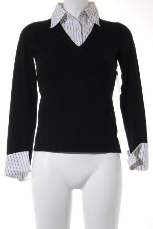 Esprit V-Ausschnitt-Pullover weiß-schwarz Streifenmuster Business-Look