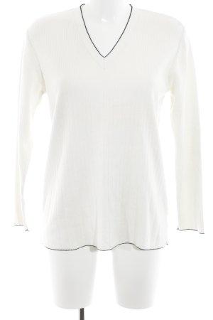 Esprit V-Ausschnitt-Pullover wollweiß-schwarz Streifenmuster Casual-Look