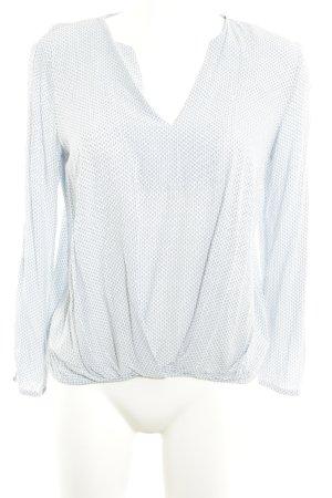 Esprit V-Ausschnitt-Shirt hellblau-weiß Punktemuster Casual-Look
