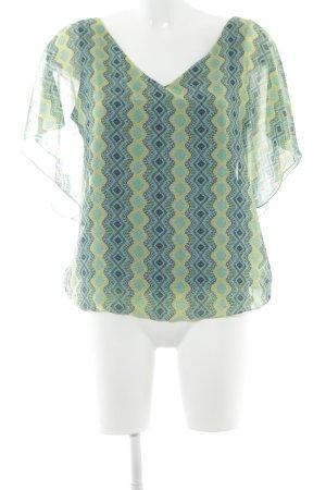 Esprit V-Ausschnitt-Shirt limettengelb-blassgrün Ornamentenmuster Casual-Look