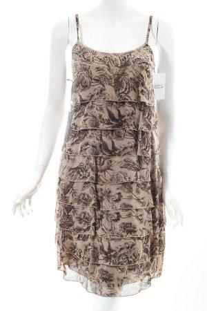 Esprit Volantkleid beige-dunkelbraun florales Muster Eleganz-Look