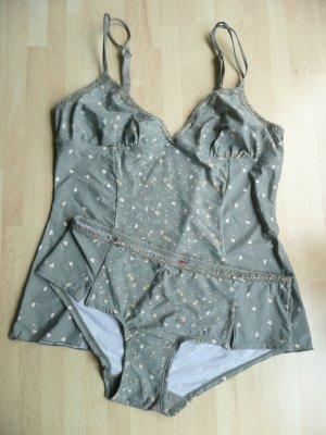 Esprit Wäsche Set 2tlg Hemdchen Camisole Top + Panty Hipster Blümchenprint Gr 38
