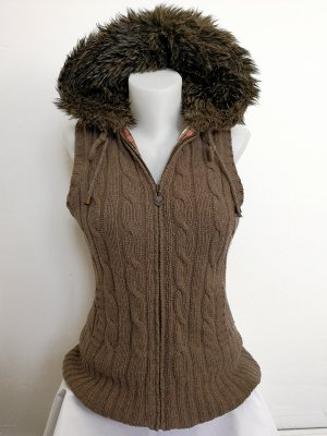ESPRIT warme Winterweste mit Zopfmuster und XL Kapuze (Gr. M)