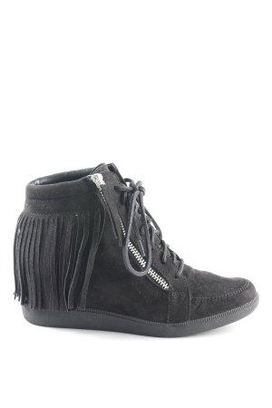 Esprit Wedge Sneaker schwarz-silberfarben Casual-Look