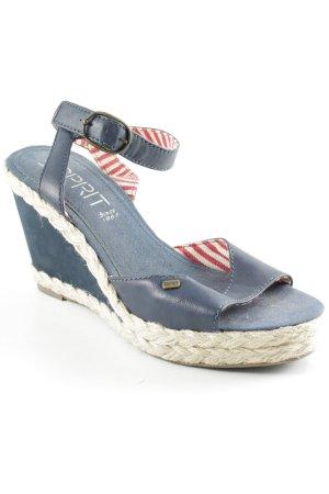 Esprit Wedge Sandals dark blue casual look