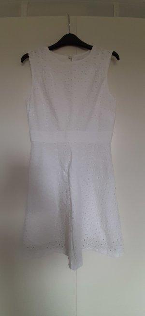 Esprit weißes Kleid Sommer Baumwolle Häkel-Spitze Lochmuster A-Linie knielang Gr. 36