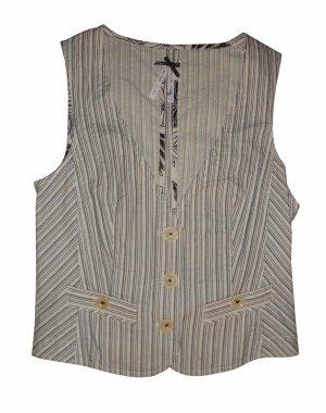 Esprit Weste Gilet Top Baumwolle schwarz weiß gestreift Gr. 38 M neu