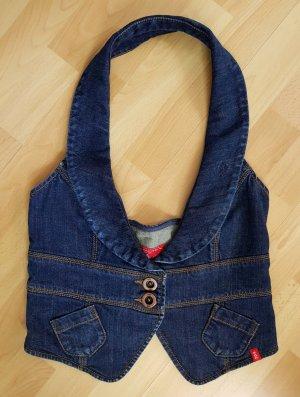 Esprit Weste Jeansweste dunkelblau S Tailliert Rückenfrei Schalkragen