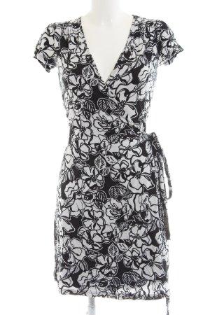 Esprit Robe portefeuille noir-blanc motif de fleur style décontracté