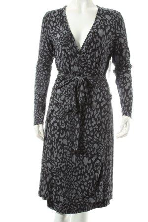 Esprit Wickelkleid schwarz-grau abstraktes Muster Casual-Look