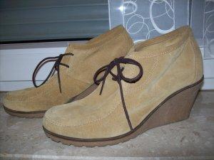 Esprit Wildleder Wedges Keilabsatz Leder Schuhe beige Gr. 40
