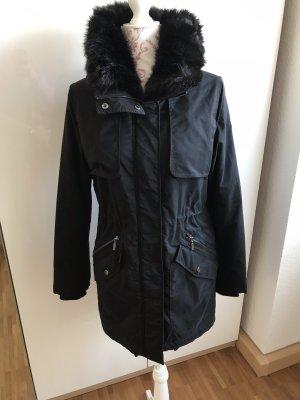 Esprit Winterjacke Parka schwarz Gr. 36 S Wintermantel Jacke Pelzkragen Pelz Fell Winter