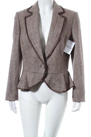 Esprit Woll-Blazer beige-dunkelbraun Webmuster Business-Look