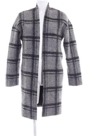Esprit Cappotto in lana grigio chiaro-nero motivo a quadri stile casual