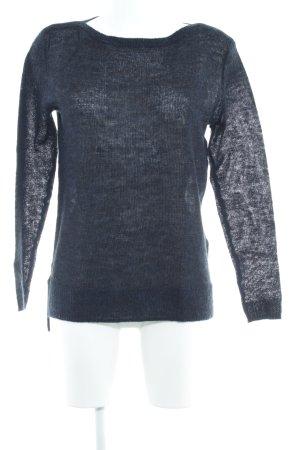 Esprit Pull en laine bleu foncé-noir moucheté style décontracté