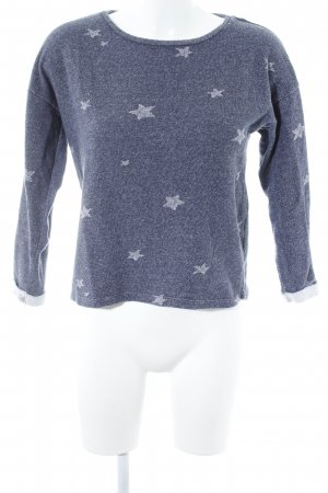 Esprit Wollpullover graublau-weiß Sternenmuster Kuschel-Optik
