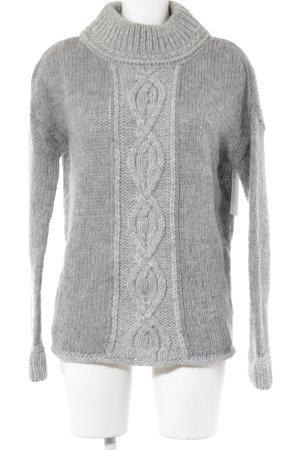 Esprit Wollen trui lichtgrijs-grijs visgraatmotief casual uitstraling
