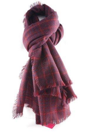 Esprit Woolen Scarf dark red-dark blue check pattern casual look