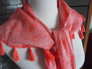 Esprit wunderschönes Tuch / Schal Rot Weiß mit Bommeln