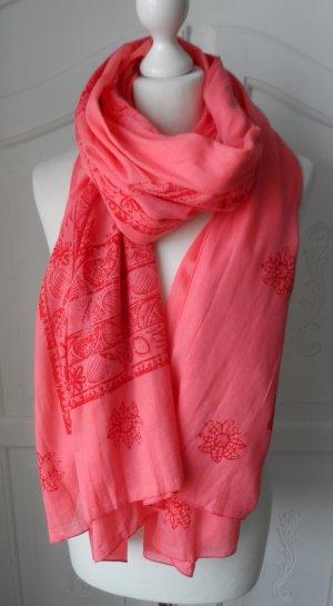 ESPRIT XXL Schal aus Baumwolle koralle wenig getragen