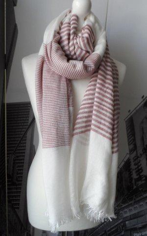 ESPRIT XXL Schal mit Streifen und offenen Kanten Weiß Mauve wenig getragen