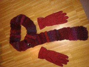 Esprithandschuhe dunkelbordeauxrot Gr S mit Schal