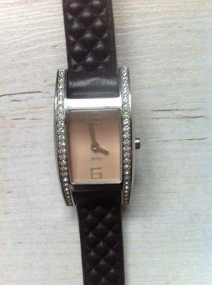 Esprit Horloge met lederen riempje donkerbruin Leer