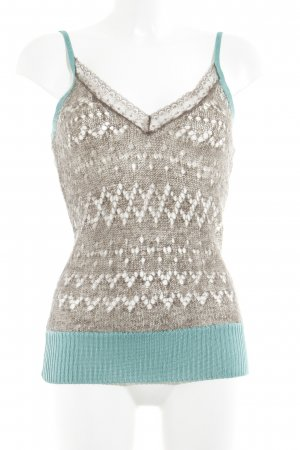 Essentiel Antwerp Knitted Top khaki-turquoise loosely knitted pattern