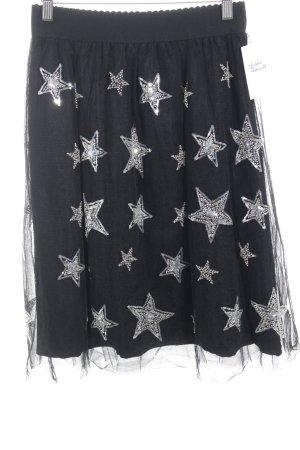 Essentiel Antwerp Falda de tul negro-color plata Patrón de estrellas brillante