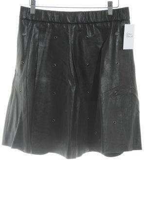 Essentiel Falda de talle alto negro look casual