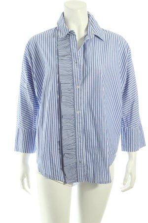 Essentiel Kimono-Bluse kornblumenblau-weiß Streifenmuster Street-Fashion-Look