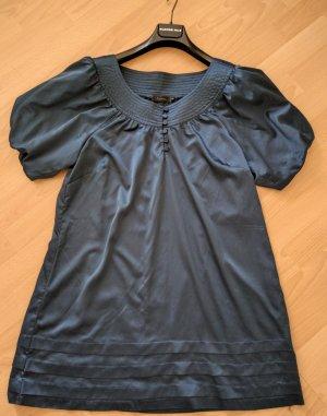 Estelle Lang shirt staalblauw-donkerblauw Textielvezel