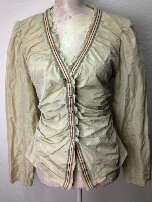 Blouse Jacket pale green-gold-colored synthetic fibre