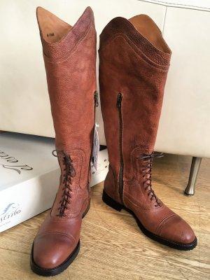 * ESTRIBO * NEU ! STIEFEL Reiterstiefel braun vintage Look Schnürung Reißverschluss Gr 40 - 40,5