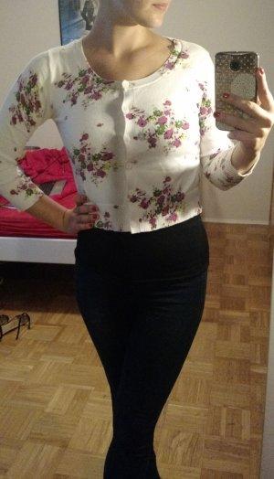 Etam Cardigan Gr. 36 S weiß Jäckchen blumen floral feminin Jacke oberteil weste