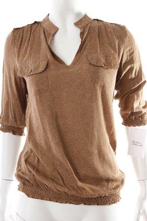 Etam Hemd-Bluse braun-weiß Punktemuster klassischer Stil