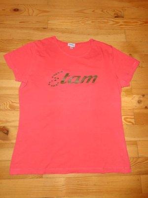 Etam korallefarbenes T-Shirt Gr. 36/38 mit Schriftzug aus Frankreich