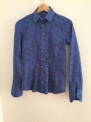 Eterna Bluse, blau, weiß gemustert
