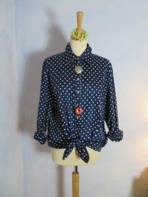 Eterna Dunkelblaue Bluse Weiße Dots Gr. 46 Punktebluse Oversize Knotenhemd Kleid M L XL