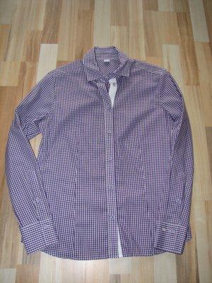 Eterna Excellent süße lila-weiß karierte Langarm-Bluse, Gr. 40